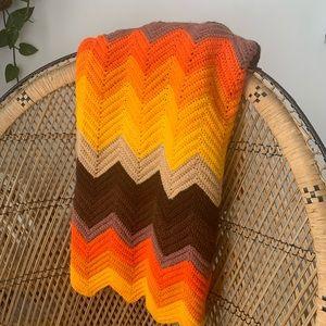 Vintage 70's Chevron Throw Blanket
